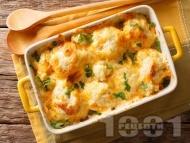 Рецепта Огретен с карфиол, шунка, кашкавал и топено сирене на фурна